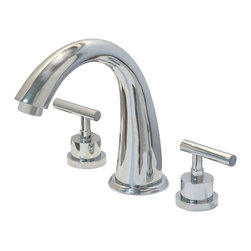 Kingston Brass - Two Handle Roman Tub Filler - This Roman tub filler is made of solid brass construction for functionality and long-lasting use. Its premium color finish resists tarnishing and corrosion with a 13.0 GPM at 60 PSI. The spout reaches at 7-1/8in. with its height at 8-7/16. This style exhibits sophistication and contemporary elegance, a design made to make your bathroom vibrant and extravagant.