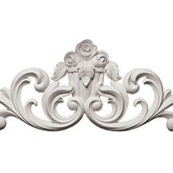 "Inviting Home - La Rosa Flourish Wall Decoration - Decorative Onlays 12-5/8""H x 35-11/16""W depth - 2-1/16"" This architectural wall decoration is made from polyurethane - a perfect material for interior as well as exterior application. This wall decoration can be used in combination with other architectural decorative wall elements as a center piece element. This wall decoration gives you the look of plaster but the durability and light weight of the high quality material it is made from makes the installation quick and easy. Wall decoration is made from a furniture grade polyurethane from hand cast molds and comes primed ready for paint."