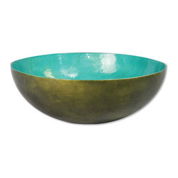Capiz Serving Bowl, Olive/Teal - Beautifully hand crafted capiz shell salad bowl. Food safe, but not suggested for hot soup. For long lasting enjoyment please hand wash - do not put in dishwasher.