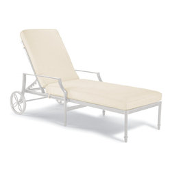 Frontgate - Grayson Outdoor Chaise Lounge with Cushions in White Finish, Patio Furniture - Wheeled chaise moves into six positions, from upright to fully reclined. Crafted of 100% ingot aluminum. Solid cast back details. Sofa arrives with plush, all-weather back and seat cushions. Cushions are constructed of a high-resiliency foam core with soft polyester wrap. Our Grayson Chaise Lounge is perfectly relaxing, with its garden-style lattice back, airy design, and six reclining positions. Crafted of solid cast aluminum, this timeless collection is elegant without being fussy. Made to endure season after season with hand-filed welds, a durable powdercoated finish and all-weather cushions.Part of the Grayson White Collection.  .  .  .  .  . Finished with 100% solution dyed fabric covers that resist mold, mildew and fading . Adjustable foot glides allow for uneven surfaces . Glossy White Finish . Designed exclusively for Frontgate . Imported.