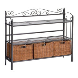 """Holly & Martin - Holly & Martin Petaluma 3-Drawer Baker's Rack X-61-6-600-591-95 - Elegant and beautiful, this three-drawer shelf will help with storage, display and organization all in one. The lower shelf holds three hand stained rattan baskets that can be removed or carried with you. Two upper shelves provide ample and convenient storage making this unit perfect for any room in the house.    - 40.25"""" W x 11"""" D x 32"""" H                                                                              - Textured gun metal grey finish                                                                        - Baskets: 10"""" W x 10.5"""" D x 8"""" H (each)                                                                - Upper shelves: 38.5"""" W x 10"""" D x 10"""" H (each)                                                         - Supports up to: 24 lb. (per shelf), 12 lb. (per basket)                                               - Durable metal construction                                                                            - Assembly required"""