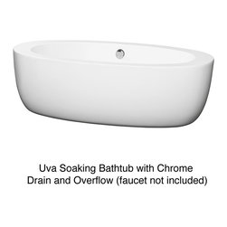 Wyndham Collection - Wyndham Collection UVA Free Standing Soaking Bathtub - A mixture of traditional style with a contemporary flair, this modern free-standing tub is the perfect way to relax and unwind. This white acrylic soaking tub has curves in all the right places, making it a Zen-like addition to any modern bathroom.