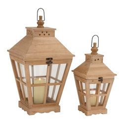 "Benzara - The Heavenly Set Of 2 Wood Glass Lantern - Are you in search of most brilliant wood glass lanterns? Looking for lanterns that will add the wow-factor to your home? Well, these particular wood glass lanterns will do just that. In a most amazing shape and in a most delightful color, this set of lanterns will not just provide light when the power dies, but will vivify and beautify your ambience like no other decor item can or will. These lanterns are like two little homes or temples. Additionally, they have been made from quality materials. This ensures that they will stand the test of time. All who see them will instantly fall in love with their beauty. These lanterns can be perfect for the modern home. Indeed, they will complement modern decors wonderfully. So why wait? Get the wood glass lanterns today. Wood glass lantern dimensions: 12 inches (W) x 12 inches (D) x 22 inches (H); 8 inches (W) x 8 inches (D) x 16 inches (H); Lantern color: Light brown; Made from: Wood, glass; Dimensions: 17""L x 14""W x 35""H"