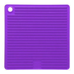 Mastrad Orka Silicone Pot Holder Purple - The Mastrad silicone pot holder in purple is stylish and durable.  This premium silicone pot holder is heat resistant to 480° F and features non-slip ridges on both sides.  The item also does double duty as a trivet and a jar opener.           Product Features                        100% premium silicone construction            Stain resistant            Heat resistant to 480° F            Easy to clean  dishwasher safe            Non-slip ridges on both sides
