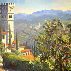 Tuscan Village View to the Hills - Oil on canvas