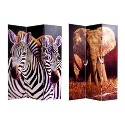 Oriental Unlimited - Double Sided Elephant and Zebra Canvas Room D - Carefully constructed reinforced wood frames of hardy, kiln dried Spruce, covered top to bottom, front and back and on the edges, with stretched poly-cotton blend canvas. Printed with high saturation ink to create a beautiful, long lasting image. Almost entirely opaque, very little light can pass through the double layer of canvas, offering complete privacy, very tough and durable, yet light and portable. Great for dividing space, providing privacy, hiding unsightly areas or equipment, background for plants or sculptures or defining a cozy space. 15.75 in. W x 70.88 in. H (each panel)A sepia toned image of an African elephant preparing for full charge on 1 side, a loving pair of Savannah zebra caressing on the other, powerful, beautiful photos, printed onto a limited number of portable, durable, 3 panel canvas room dividers. Works well with natural, beach, warm weather, tropical or jungle interior design and decor, unique decorative art, as well as practical, effective, folding floor screens.