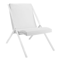 """LexMod - Swing Vinyl Lounge Chair in White - Swing Vinyl Lounge Chair in White - Rock back and forth while seated stationary in the Swing lounge chair. Swings design is a celebration of expanses of linear and curved space for a singular effect that imparts one pleasing result. From the polished stainless steel frame to the padded vinyl seat and back, Swing attracts attention without encumberment. Through and through, Swing is a minimalistic modern lounge chair. But even though the design is fluid and visually captivating, there is none of the clunkiness present in other lounge chairs. Simply put, the Swing lounge chair is a centerpiece that works exceptionally well in contemporary lounge, living, and reception areas. Set Includes: One - Swing Vinyl Lounge Chair Modern lounge chair, Padded vinyl seat and back, Polished stainless steel frame, Easy wipe clean surface Overall Product Dimensions: 30""""L x 23""""W x 32""""H Seat Dimensions: 18.5""""L x 20.5""""W x 15""""HBACKrest Dimensions: 2.5""""L x 21""""H Cushion Thickness: 2.5""""H - Mid Century Modern Furniture."""
