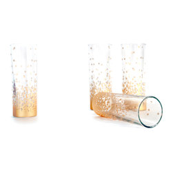 Grandiflora Home + Decor - Confetti Stemless Glasses, Set of 4 - This set of four slim glass tumblers are wrapped in a stunning gold glitter confetti print.  The simple glassware design is perfect for champagne, showing off your cocktail, or any favorite beverage.  They can be funky, sweet, classic, or bold - it's all in how you use them!