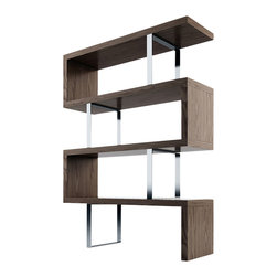 """Modloft - Pearl Bookcase, Walnut - The Pearl bookcase adds a modern edge to any room. Four fixed hardwood shelves with ladder-style steel chrome supports give the Pearl a light appearance. Clean, modern lines and open shelving allow this stunning piece to act as a natural partition between adjacent rooms in the home. Measures 51""""L x 14""""D x 66""""H (distance between shelves 14.5H). Light assembly required. Engineered wood. Available in wenge or walnut wood finishes. Also available in white lacquer finish. Photo shown as pair. Sold separately. Imported."""