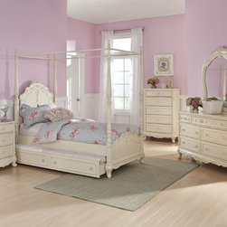 Homelegance - Homelegance Cinderella 5 Piece Canopy Poster Bedroom Set in Antique White - The Cinderella Collection is your little girl's dream. The Victorian styling incorporates floral motif hardware, antique ecru finish and traditional carving details that will create the feeling of a room worth of a fairy tale princess. A canopy bed completes the fantasy of this whimsical collection. Turned posts reach for the heights and are topped with carved finials. The additional trundle provides the extra sleeping space for princesses visiting from other kingdoms. Also available in dark cherry finish. - 1386FPP-CPB-5-SET.  Product features: Victorian styling; Floral motif hardware; Antique White Finish; Available in Twin and Full sizes; Trundle optional; Also available in dark cherry finish. Product includes: Canopy Poster Bed (1); Nightstand (1); Chest (1); Dresser (1); Mirror (1). 5 Piece Canopy Poster Bedroom Set in Antique White belongs to Cinderella Collection by Homelegance.
