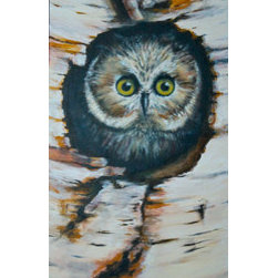 """""""Owl"""" (Original) By Christine B - Hideout Is Perfect In This Birch Tree For Those Amazing Eyes."""
