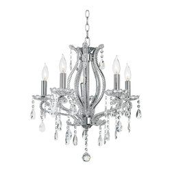 "Lamps Plus - Contemporary Clear Crystal and Chrome Five Light Chandelier - Add glamour to your decor with this elegant crystal chandelier. This fixture features five lights with clear crystal accents adorning the frame. Additional crystal pendants and hanging accents provide even more brilliant light effects. Five candelabra style lights provide lots of sparkle. Takes five 60 watt candelabra bulbs (not included). 21"" wide. 21"" high. Comes with 6 feet of chain and 10 feet of wire. 4 3/4"" canopy. Weighs 13.2 pounds.  Chrome finish frame.   Clear crystal accents.  Takes five 60 watt candelabra bulbs (not included).   21"" wide.   21"" high.  Comes with 6 feet of chain and 10 feet of wire.   4 3/4"" canopy.   Weighs 13.2 pounds."