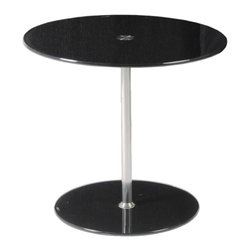 Euro Style - Raina Side Table - Black Printed Glass/Stainless Steel - Matching tempered glass tabletops and bases are the main design statement here.  On the practical side, the stainless steel column is adjustable so that the table can be used as a side table, at table height, or at counter height.  Versatile as you are creative.