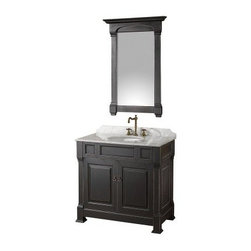 Wyndham Collection Andover 36-in. Antique Black Single Bathroom Vanity Set - Add an updated look with a classic style by adding the Wyndham Collection Andover 36-inch Black Single Bathroom Vanity to your home. This vanity features a solid oak hardwood construction finished in Black. The solid marble countertop is hand carved and stained and includes a backsplash with a porcelain under-mount sink. Spacious storage is available behind lower cabinet doors for a variety of bathroom necessities. This vanity also comes with an included matching mirror with a beautiful wood frame that will complete the look of your bathroom.About the Wyndham CollectionWyndham and the Wyndham collection are all about refinement, detailing, uniqueness, quality, and longevity. They are dedicated to the quality of their products and own the factory where each piece is constructed. This allows Wyndham to offer products that reflect the rigorous quality standards required for every piece that is offered to their customers. The Wyndham collection showcases elegant, modern design styles that highlight functionality and style in every detail.
