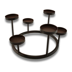 Zeckos - Metal Tea Light Ring Candle Holder - What a lovely way to add light to your home using this tea light ring candle holder. It holds six tea lights at varying levels for a unique light show. It'll add warmth to any room, and would brilliantly highlight a holiday table, and create an atmosphere of relaxation, invoking enjoyable conversations. It's made from metal and hand-painted in a beautiful weathered brown finish that easily blends in any decor. Place a pillar style candle in the center for even brighter splendor. It stands 4 3/4 inches at the highest tier, 3 inches high at the lowest tier and 9 3/4 inches in diameter. This candle ring would make a wonderful housewarming gift, too