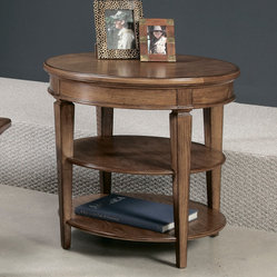 American Drew Americana Home Round Lamp Table in Warm Oak