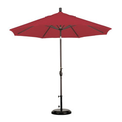 California Umbrella - California Umbrella 9 ft. Aluminum Push Button Tilt Pacifica Market Umbrella - G - Shop for Patio Umbrellas from Hayneedle.com! Both practical and stylish the California Umbrella 9 ft. Aluminum Push Button Tilt Pacifica Market Umbrella will cast a generous shade area over your patio to help you stay cool and relax. The aluminum frame has a simple crank-to-open and push-to-tilt design. The push-button tilt style keeps the tilt feature and the user-friendly crank-to-open feature separate within the frame adding to the umbrella's longevity. You can simply crank open the umbrella and push a button to tilt the canopy towards the sun. The large 9-foot canopy comes in a wide variety of colors in Pacifica fabric offering the highest level of customization.About California UmbrellaCalifornia Umbrella is known for producing high-end quality patio umbrellas and frames for over 50 years. The California Umbrella trademark is immediately recognized for its standards in engineering and innovation among all the brands in the United States. As a leader in the industry California Umbrella strives to provide you with products and service that will satisfy even the most demanding consumers. Its umbrellas are constructed to give the consumer many years of pleasure and its canopy designs are limited only by the imagination. California Umbrella is dedicated to providing artistic innovative fashion-conscious and high-quality products for all your needs.
