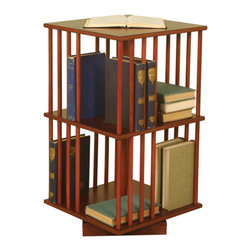 Welcome Home Accents - Revolving Wood Book Case - Warm Mahogany veneer bookcase on a revolving base. Books can be stored vertical or horizontal. Top surface space for extra storage or display. Two shelves hold plenty of books.  Wipe with a dry cloth. Some assembly required.