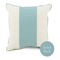 Oilo - Oilo Aqua Band Throw Pillow - Cheerful color and clean-lined design make this throw pillow a subdued and fun accent for your space, from its classic piping and wide stripe in soft blue-green aqua. The crisp ivory background for the turquoise band creates light, calm contrast, while the simple design of the accent pillow brings feelings of casual warmth and breezy coastal color. From its relaxed light teal hue to the uncomplicated pattern and structure of the square pillow, this home accessory is fresh and youthful.Crafted from 100 percent woven cottonDacron fill includedHidden zipper closureSolid aqua blue backEco-friendly and machine washableMade in the USA
