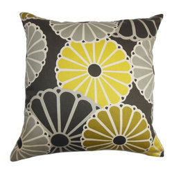 "The Pillow Collection - Gisela Floral Pillow Yellow and Gray - Reinvent your home with a contemporary twist with this square pillow. This 18"" pillow features a unique floral pattern in shades of yellow, gray and black. This throw pillow is a welcoming sight with its pop of bright colors. Made of 100% soft and plush cotton material, which is easy to clean and maintain. Hidden zipper closure for easy cover removal.  Knife edge finish on all four sides.  Reversible pillow with the same fabric on the back side.  Spot cleaning suggested."
