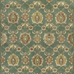 "Kas - Allover Tabriz Seafoam Versailles Oriental 5'3"" x 7'7"" Kas Rug  by RugLots - Machine-woven in Belgium of 100% viscose, our Versailles Collection presents an extraordinary line of luxurious and trendy designs in a current color palette. These artistically detailed rugs range from traditionals and classics to striking floral looks. A luxurious sheen and ultra-soft pile make each of these fine faux silk pieces a work of art for any room throughout your home."