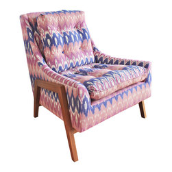 Kim Salmela Atelier Product Line - The modern lines and exposed natural walnut on the Grace Chair is given a bohemian ethnic edge with the Indian cotton ikat fabric in lavender and periwinkle.  Photo by Kim Salmela