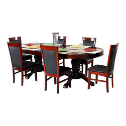 BBO Poker Tables - BBO Poker The Rockwell 7-Piece Poker Table Set BLK-SS - The Rockwell poker table is a gallery quality elegant furniture poker table that impresses even the most discerning players. Solid wood finish and customizable playing surface makes the Rockwell a personalized high end poker table. Ten, 4in cup holders which can accommodate wine (and whiskey) glasses sit flush in the gloss mahogany racetrack providing an upscale battlefield for 10 players. The Rockwell is finished with premium upholstery and professional foam and playing surface velveteen. Add a dining top or matching chair to turn this custom poker table into a dining set.