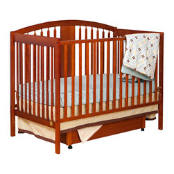 Stork Craft - Stork Craft Hollie 4-in-1 Fixed Side Convertible Crib in Cognac - Stork Craft - Cribs - 0455065C - The Hollie 4 in 1 Fixed Side Convertible Crib by Stork Craft features traditional tailored lines rounded edges and a roomy design. All sides are stationary and include an adjustable three position mattress support base to add to the security and stability of this simple yet elegant crib.  The Hollie comes with a sliding bottom drawer providing extra storage for diapers and wipes. This beautiful crib is made of solid wood and wood products offered in a selection of non toxic durable finishes. Save on costs once your baby is ready for a big kid bed with an easy conversion from a crib to toddler bed to daybed to full size bed (bed rails not included).  Complete your nursery look by adding an assortment of matching accessories: a changing table chest dresser or glider and ottoman. Features: