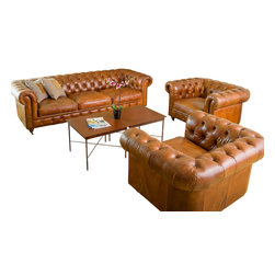 Great Deal Furniture - Claxton 3pc Tufted Brown Top Grain Leather Sofa Set - The Claxton 3pc Tufted Leather Armchair and Sofa set exudes a nostalgic feel for Old English charm. This set is made with top grain leather and shows craftsmanship and attention to detail with the elaborately tufted wrap-around back and antique studded detailing at the base of the pieces. This one-of-a-kind Claxton Tufted Leather set will be a great statement set in any space.