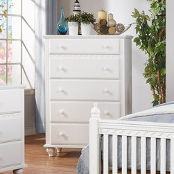 Homelegance - Homelegance Emmaline 5 Drawer Chest in White - Soft country styling lends a warm touch to your little girls bedroom in the Emmaline Collection. The white finish provides a cheery statement while slat accents  molded details  wood knob hardware and turned legs lend a playfully traditional look.