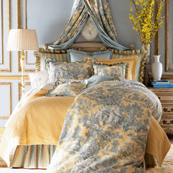 """Legacy Home - Legacy Home King Toile Duvet Cover, 102"""" x 96"""" - A charming combination of patterns on this bedding in a palette of yellow, moss, blue, and cream. Toile linens are made of cotton; striped accessories are polyester/cotton; checked accessories are silk. Gathered dust skirts have an 18"""" drop. Tie-top toi..."""