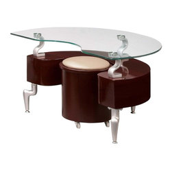 Global Furniture - 2 Pc Modern End Table with Stool Set - Includes table top, base and stool. Contemporary design. Curved glass top. Stools with white upholstered cushion. Made from glass and metal. Constructed with MDF. Glass Top: 38 in. W x 26 in. D x 2 in. H (26 lbs.). Base: 31 in. W x 21 in. D x 8 in. H (21 lbs.). Stool: 13 in. Diameter x 17 in. H (11 lbs.)
