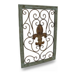Zeckos - Green Distressed Finish Wood and Metal Fleur De Lis Wall Panel - Creating an elegant focal point in your home, office or out in the garden is simple with this charming, beautifully distressed finish fleur de lis wall hanging. A fleur de lis takes center stage in a metal scroll-work design with an aged copper finish, and bordered in a green wood frame that would make an amazing display in a dining room, guest bedroom, on the porch or on the patio, and easily mounts using the attached hanger on the back. This wonderful wall piece measures 25 7/8 inches (66 cm) high, 18 1/8 inches (46 cm) wide, and 3/4 inches (2 cm) deep, and makes a wonderful housewarming gift sure to receive rave reviews
