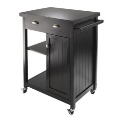 "Winsome Wood - Winsome Wood Timber Kitchen Cart with Wainscot Panel with Black Finish X-72702 - Timber Kitchen Cart with wainscot panel finished in Black compliments your kitchen.  Top surface working area is 25.67""W x 19.37""D.  One large drawer with inside dimension of 20.71""W x 13.50""D x 2.75""H.  One side has open storage with one adjustable shelf.  The other bottom half has close cabinet with one adjustable shelf.  Inside Cabinet size 10.51""W x 15.67""D x 22.24""H (without shelf).  Made of combination solid and composite wood.  Ready to Assemble."