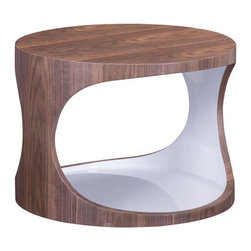 Modern Walnut & White Side Table - The Walnut & White Side Table is the answer when it comes to inviting modern design into your home. Walnut wood veneer and bright white merge to create a side table that contains handy storage. Trendy and unique, this side table can be styled as far as your imagination will take you.