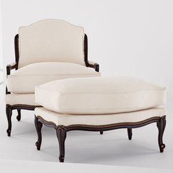 "Old Hickory Tannery - Old Hickory Tannery ""Ellsworth"" Neutral Bergere Chair - Exclusively ours. Eco-friendly handcrafted bergere chair is made of European beechwood with a coffee-bean finish and cotton upholstery. From Old Hickory Tannery®. 32.5""W x 38""D x 35.5""T. Made in the USA of imported materials. Boxed weight, a..."