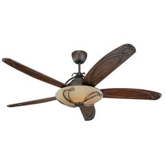 Tuscan Bronze With Carved Dark Walnut Chloe 66 Inch Five Blade Ceiling Fan With