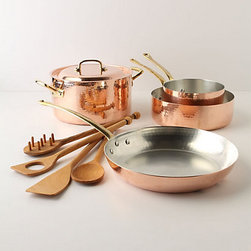 Ruffoni Copper Cookware Set - Why not have a nice set of pots and pans? I love the look of these copper and brass pans. They would really make cooking fun.