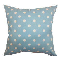 "The Pillow Collection - Rennice Ikat Dots Pillow Soft Blue Natural 18"" x 18"" - This throw pillow is a perfect accessory that you can add to your home. This accent pillow is an ideal statement piece with its playful dot print pattern. This decor pillow features lively colors in soft blue background and dots in natural color. This square pillow coordinates easily with other patterns and colors. The material used in this 18"" pillow is made from 100% soft cotton fabric. Hidden zipper closure for easy cover removal.  Knife edge finish on all four sides.  Reversible pillow with the same fabric on the back side.  Spot cleaning suggested."