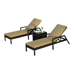 Forever Patio - Urbana 3 Piece Wicker Chaise Lounge Set, Heather Beige Cushions - The Harmonia Living Urbana 3 Piece Rattan Patio Chaise Lounge Set with Tan Sunbrella cushions (SKU HL-URBNWS-3RCLS-HB) brings comfort and style to your outdoor space. Each chaise is constructed with durable, thick-gauged aluminum frames which are protected by a powder coating for superior corrosion resistance. The wicker is made of High-Density Polyethylene (HDPE) with its Coffee Bean color and UV resistance infused into the strands themselves. This creates a rich wicker color that holds up incredibly well with age.Thick, comfy cushions are covered in Canvas Heather Beige fabric by Sunbrella, the industry leader in mildew- and fade-resistant outdoor fabric. This chaise adheres to the highest quality standards for modern patio furniture in the market today, meaning it will last for years to come.
