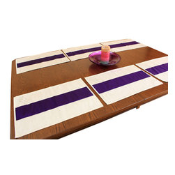 Banarsi Designs - Sophisticated Two-Tone Embroidered Placemats, Set of 6, Purple, Purple - This beautifully designed placemat set comes in six pieces that will instantly add style and panache to your dining table. Used alone or with a table runner or tablecloth, the Sophisticated Two-Tone Embroidered Placemat Set will enhance your room into a more elegant look. With such a unique design, you can be confident that these placemats are what you've been looking for to give your dining area that special touch. Striking hand embroidered filigree square in the upper left hand corner of each placemat will ensure your guests delight in such a distinctive, fresh looking design.   Perfect for both everyday use and special occasions, these versatile placemats will soon be your new favorite dining room accessory.