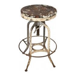 Uhl Steel Toledo Stool - Vintage Toledo industrial drafting stool with full height-adjustable wood seat and distressed metal frame.