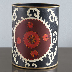 Suzani Wastebasket - If you can't afford a vintage suzani, why not get a wastebasket with a suzani pattern?