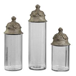 Uttermost - Uttermost 19714 Acorn Glass Cylinder Canisters - Uttermost 19714 Acorn Glass Cylinder Canisters