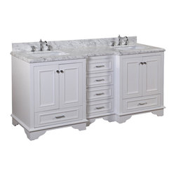 Kitchen Bath Collection - Nantucket 72-in Bath Vanity (Carrara/White) - This bathroom vanity set by Kitchen Bath Collection includes a white cabinet with soft close drawers, Carrara marble countertop, double undermount ceramic sinks, pop-up drains, and P-traps. Order now and we will include the pictured three-hole faucets and a matching backsplash as a free gift! All vanities come fully assembled by the manufacturer, with countertop & sink pre-installed.