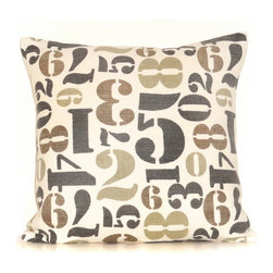 None - Numbers 20-inch Down Throw Pillow - This down throw pillow will be the perfect accessory to add that finishing touch to your decor. The zipper removable cover is 100-percent for softness and durability.