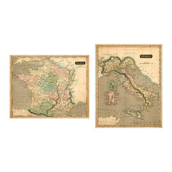 Ballard Designs - Thompson Map Art - High-quality digital reproduction. Gallery-wrapped canvas. We couldn't decide where we'd rather be France or Italy so we chose both. Created from 19th century antiques, these vintage maps are full of romantic details and softly colored for an old world look.Map Art features: . .