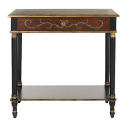 Safavieh - Ronald Console - Inspired by old English garden gates, the Ronald console has the charming characteristics of a country gentleman: solid and filled with character. With its elaborately tooled apron and dark brown birch wood top, it is at home in any room that needs Old World style.