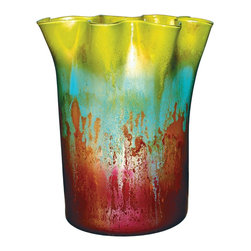 "Couleur - Mountain Meadow Glass Vase - Handcrafted by artisan glass blowers the Mountain Meadow Glass Vase is a wonderfully decorative and functional art glass accessory.  Because this is made of hand blown glass measurements are approximate - Each item will vary slightly in size and color.Specifications Dimensions: Are approximate because of the handmade nature of this product. (length x width x height) Overall: L 14"" x W 11"" x H 16"" (approximately)Made in: Mexico (MEX)  Style: Room: Living Room, Dining Room, OfficeUse: Decoration Only - Home Accent, Table Top Decor, Wall Decor, Shelf DecorIndoor / Outdoor: IndoorCare: Wipe clean with a soft damp cloth."