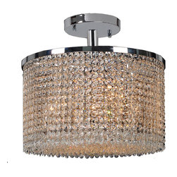 Worldwide Lighting - Prism 7 Light Chrome Finish with Crystal Ceiling Light Semi-Flush - CLEARANCE - This stunning 7-light Ceiling Light only uses the best quality material and workmanship ensuring a beautiful heirloom quality piece. Featuring a radiant chrome finish and finely cut premium grade crystals with a lead content of 30%, this elegant ceiling light will give any room sparkle and glamour. Worldwide Lighting Corporation is a premier designer manufacturer and direct importer of fine quality chandeliers, surface mounts, and sconces for your home at a reasonable price. You will find unmatched quality and artistry in every luminaire we manufacture.